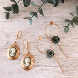 MoonLight | modern green flower earring | Olive Grove