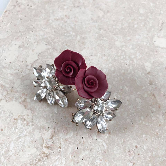 Dolce Vita | Plum stud earrings | 18K gold posts