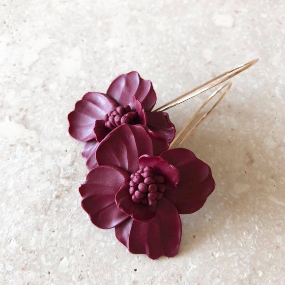 Plum Pincushion earrings | 18K Gold