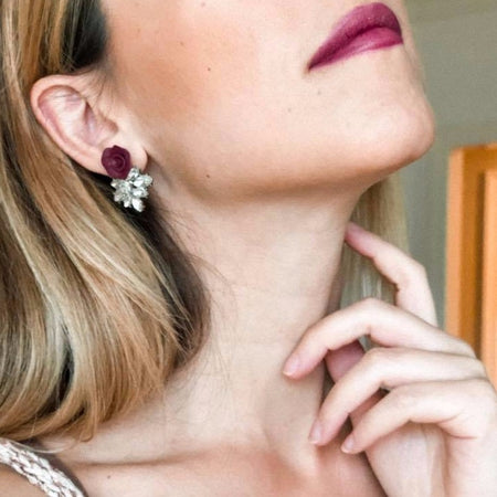 Dolce Vita | Plum TWO-IN-ONE stud earrings | 18K gold