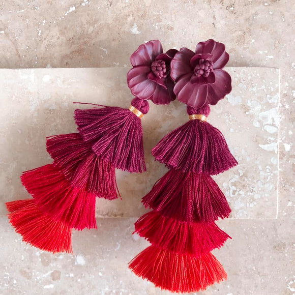 Plum | tassel earrings