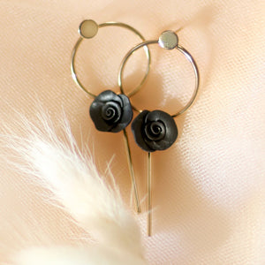 MoonLight | modern flower earring | black