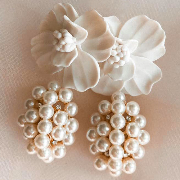 Flora | Pearl cluster dangle earrings