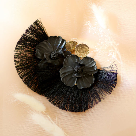Rapture | Black tassel earrings