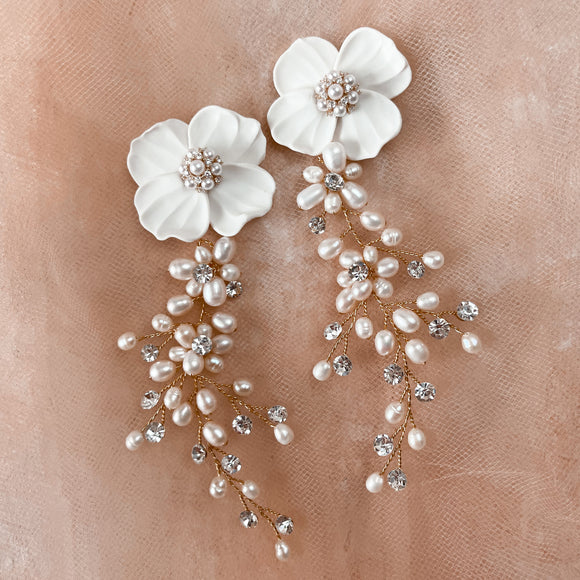 Gelsomino | crystal and pearl bridal earrings