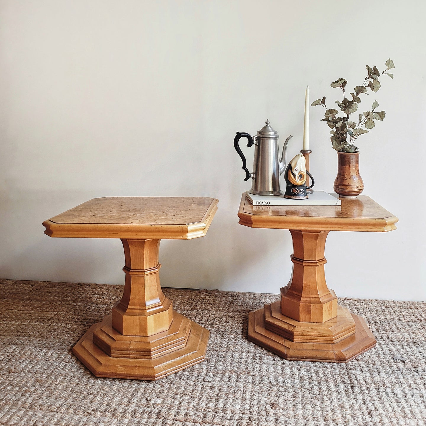 Maple Burlwood Pedestal Tables