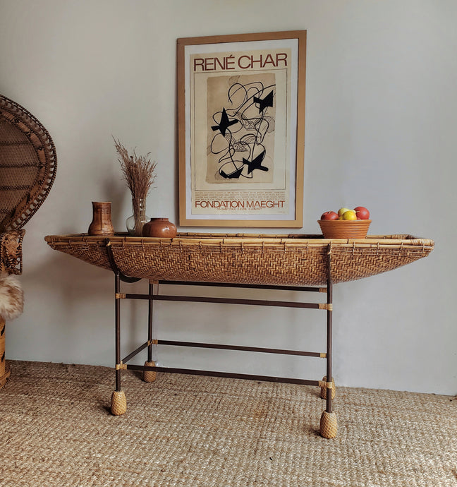 Vintage Wicker & Wrought Iron Table