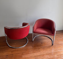 Load image into Gallery viewer, Pair of 1960s Anton Lorenz Chrome Barrel Back Chairs