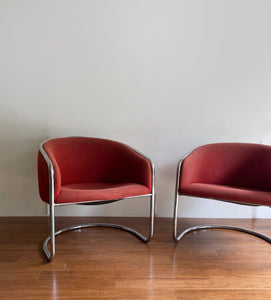 Pair of 1960s Anton Lorenz Chrome Barrel Back Chairs