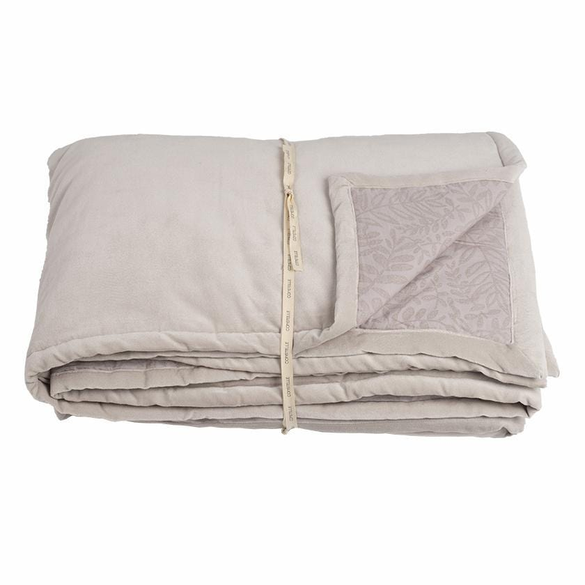 Duvet plaid boutis en velours beige avec impression blockprint