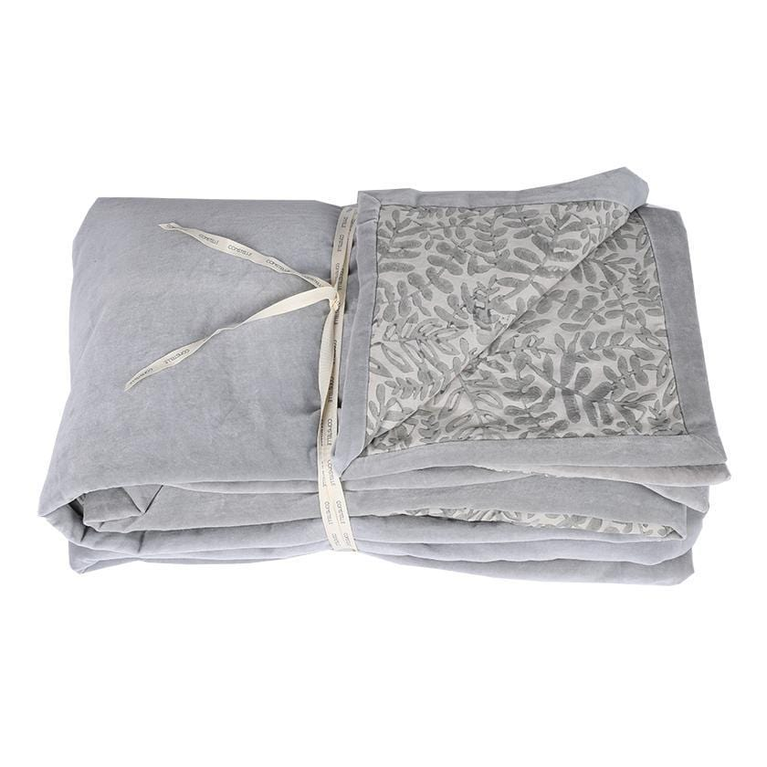 Duvet plaid boutis en velours gris avec impression blockprint