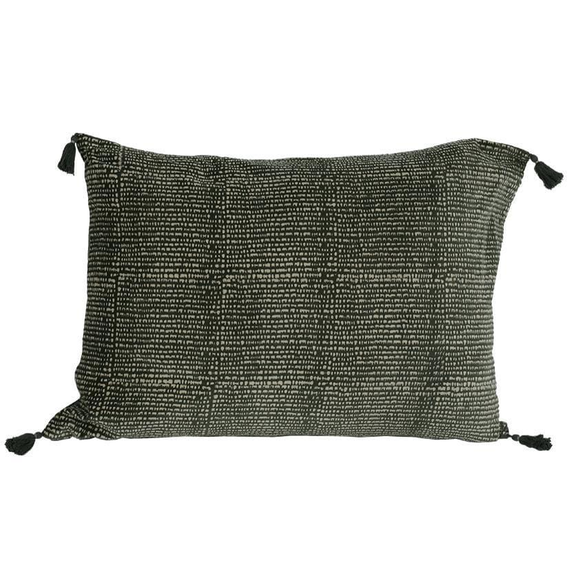 Coussin rectangle en velours vert avec blockprint rayures