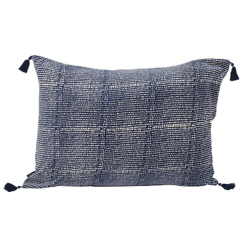 Coussin rectangle en velours bleu marine et impression rayures au blockprint