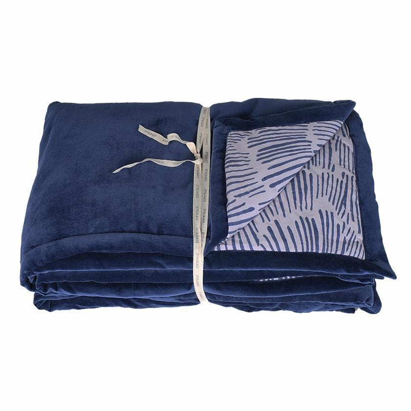 Duvet plaid boutis en velours bleu avec impression blockprint