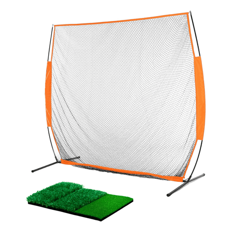 Image of 7x7 ft Portable Golf Net Driving Net and Mat Bundle Indoor/Outdoor | THE GOLFER'S PICK