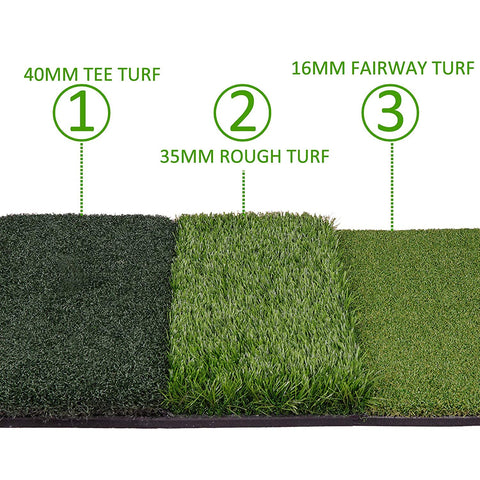 "SmartStrike Plus Triple Turf Foldable Golf Mat 25""x16"" - TheGolfersPick"