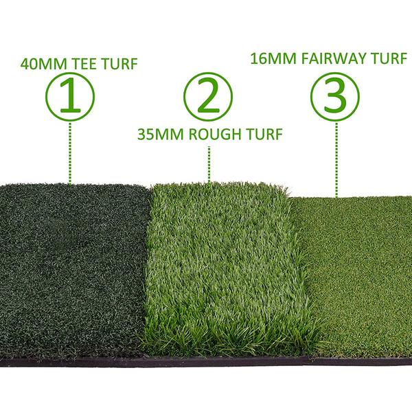 Golf Hitting Practice Mats 2pc Premium Set | 3x5 ft Fairway + Tri-Turf Mat - THE GOLFER'S PICK