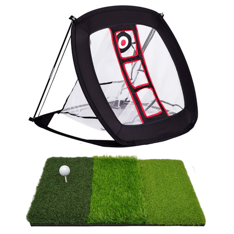 Pop Up Golf Chipping Net 3pc Bundle with Tri-Turf Hitting Mat