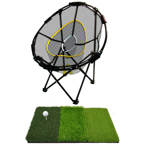 Golf Foldable Chipping Net 3pc Bundle with Tri-Turf Hitting Mat - THE GOLFER'S PICK