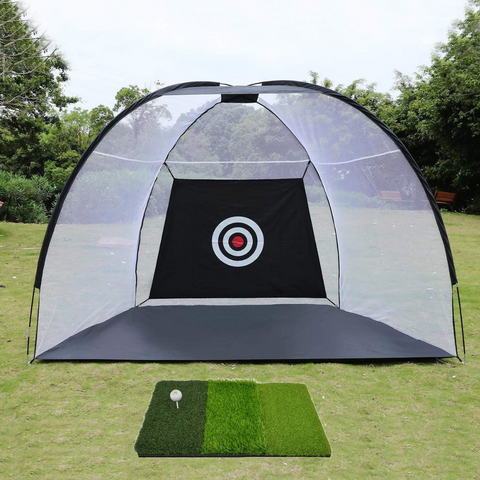 10x7 ft Giant Golf Net 3pc Bundle with Tri-Turf Hitting Mat