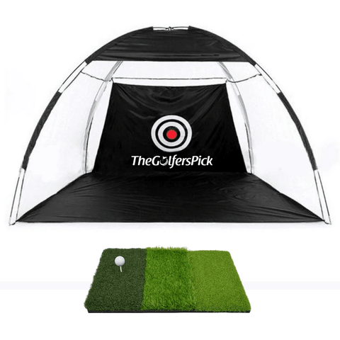 Golf Practice Driving Net for Indoors and Outdoors | Tri-Turf Hitting Mat