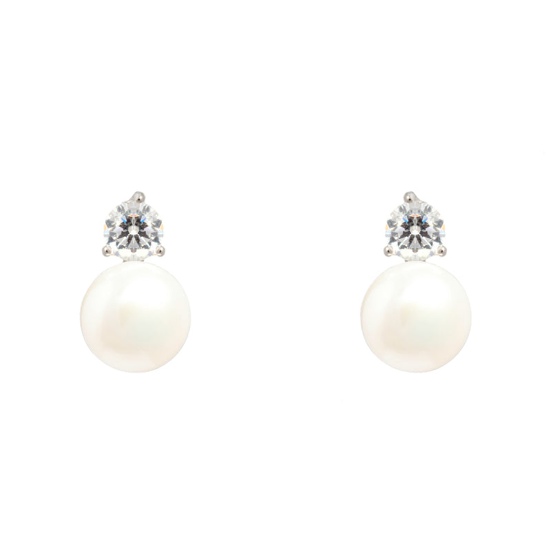 Delicate Sterling Silver Pearl Stud Earrings