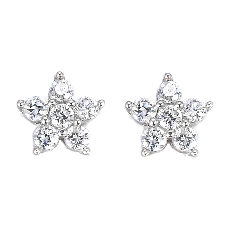 Flower Shaped Sterling Silver Stud Earrings
