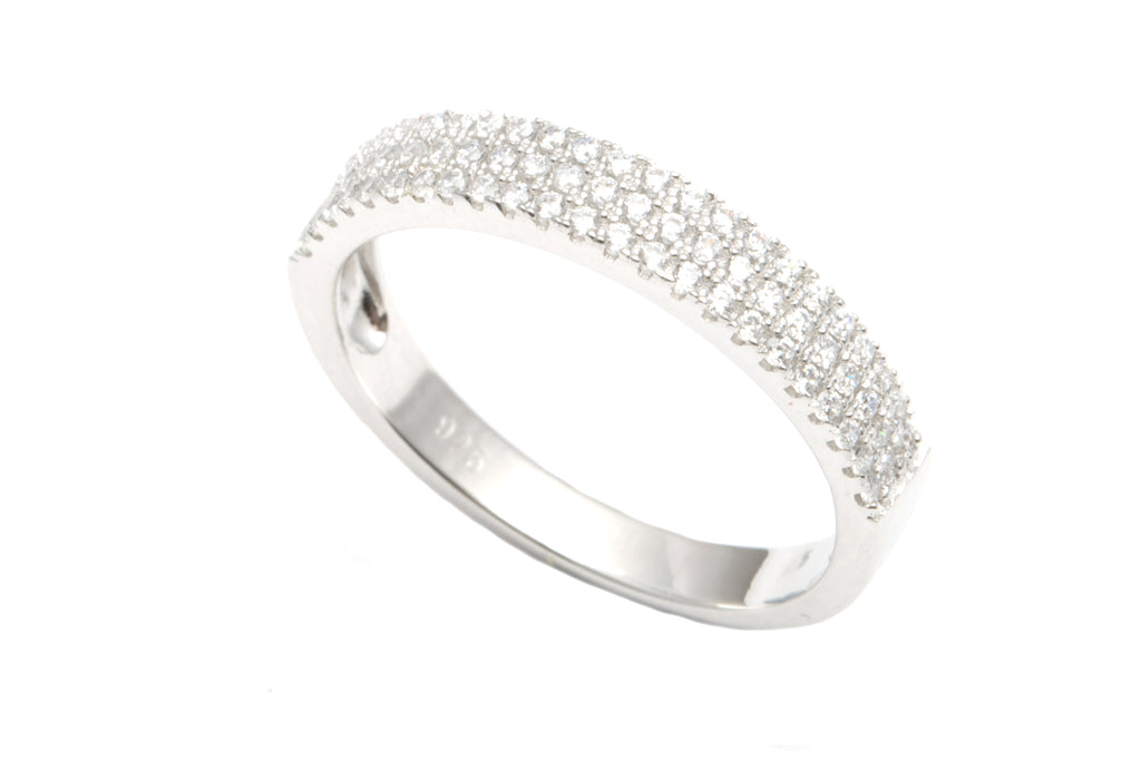 Silver and CZ Three Row Ring