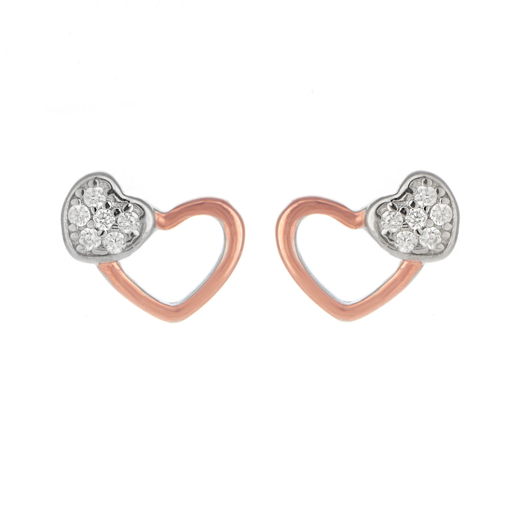 Two tone dual heart earrings