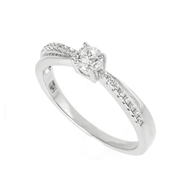 Silver and White CZ Overlay Ring