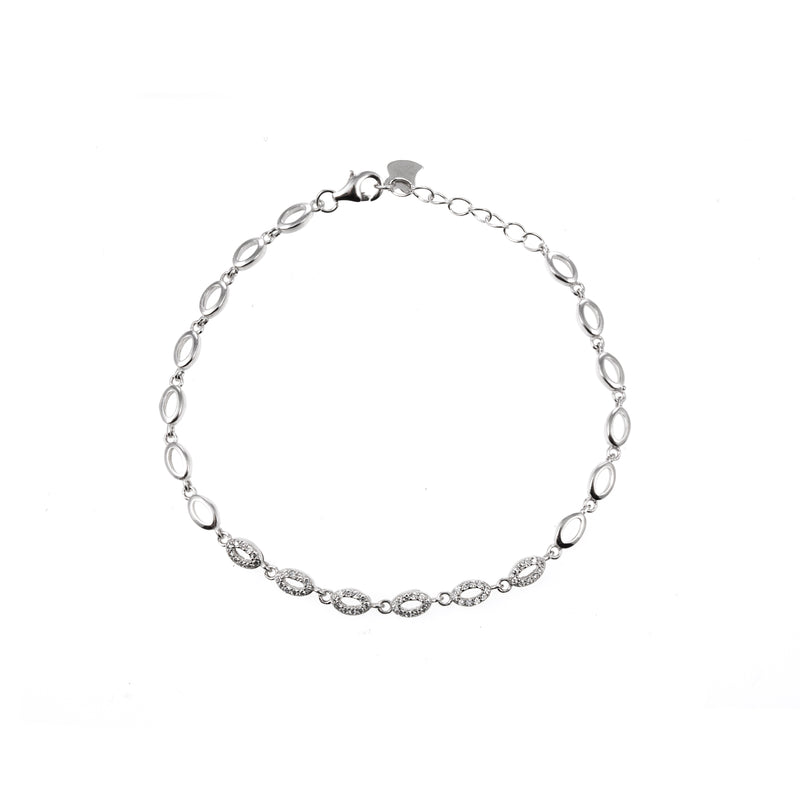 Silver and CZ Oval Bracelet (D)