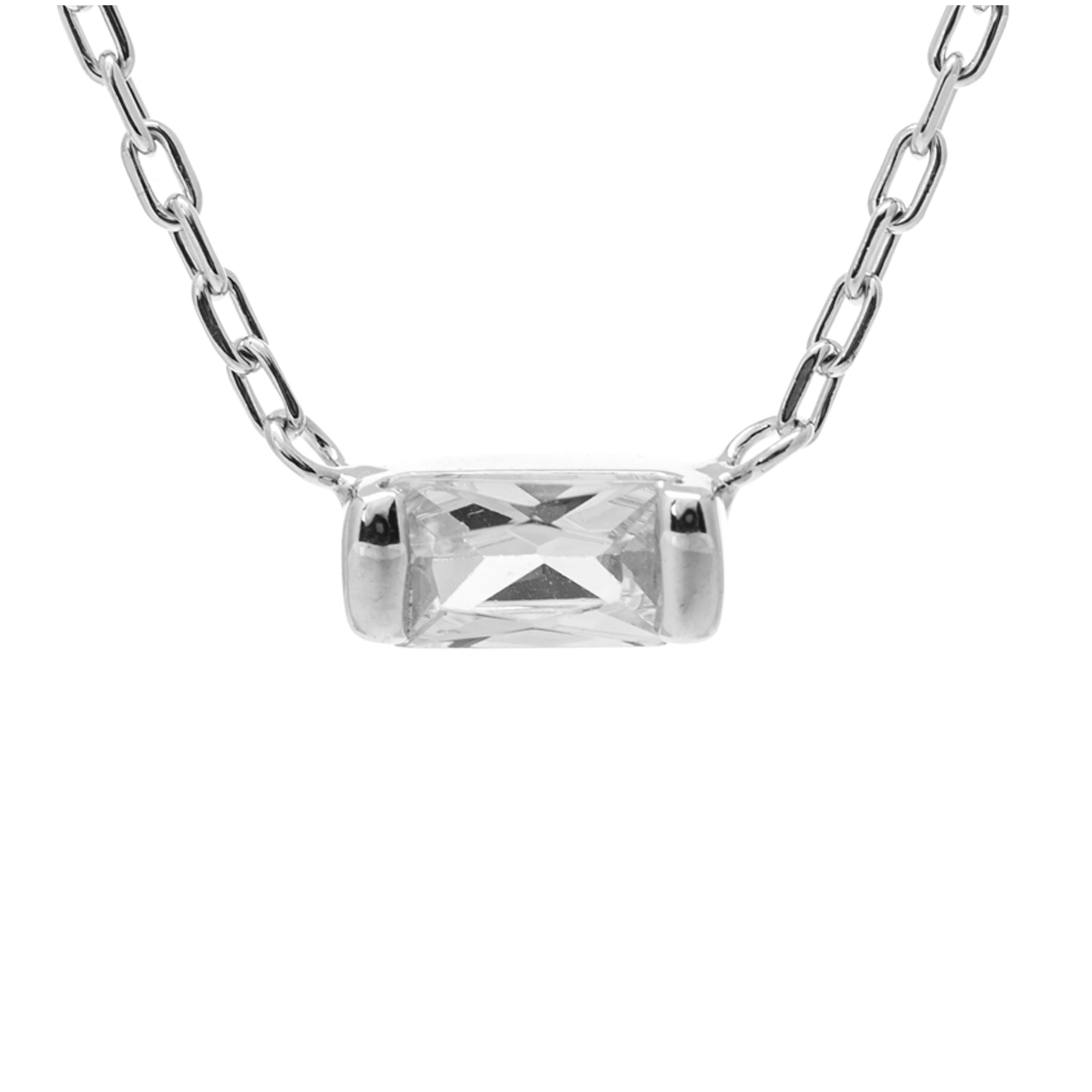 Dainty Sterling Silver Rectangular Bar Necklace