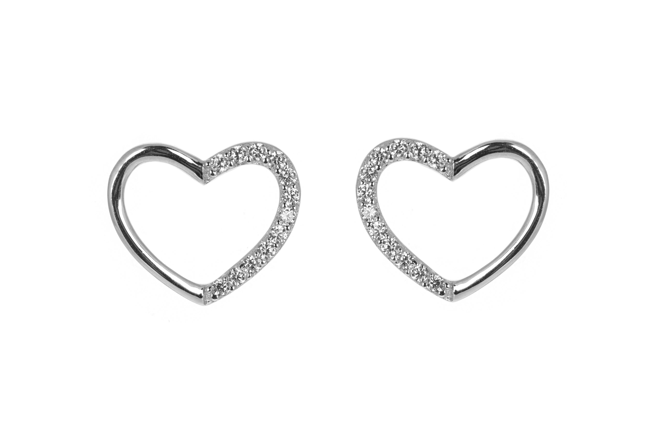 Antithesis Sterling Silver Open Heart Earrings