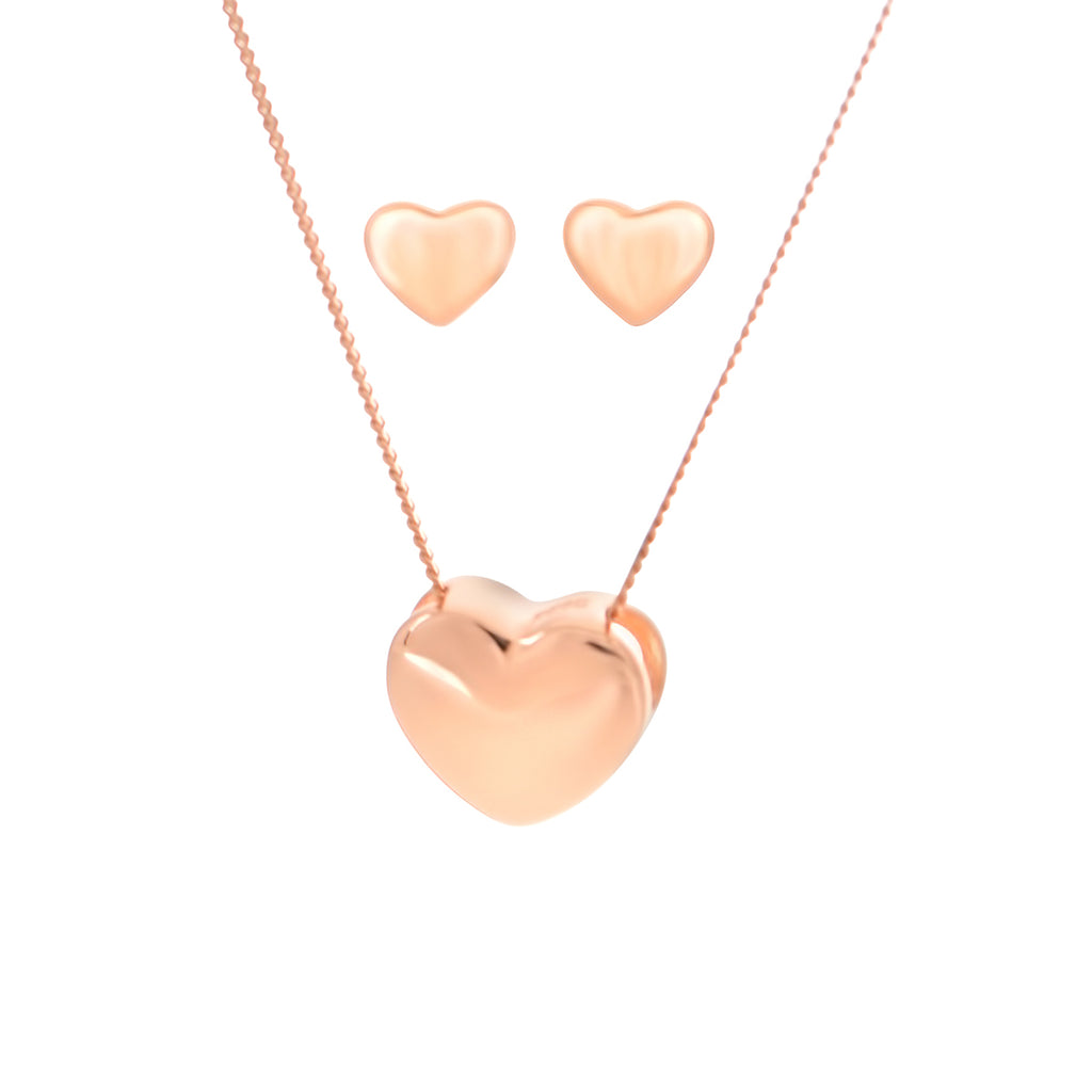 Heart Shaped Rose Gold Neclacke and Earring Set