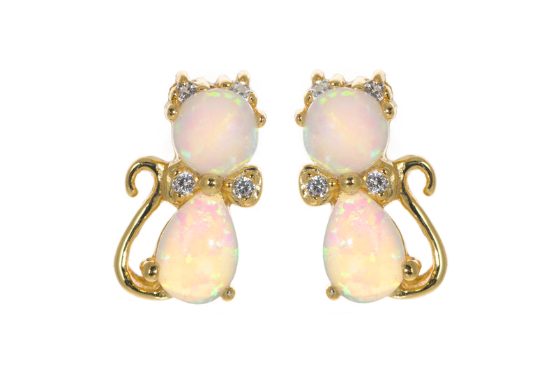 Opal cat earrings