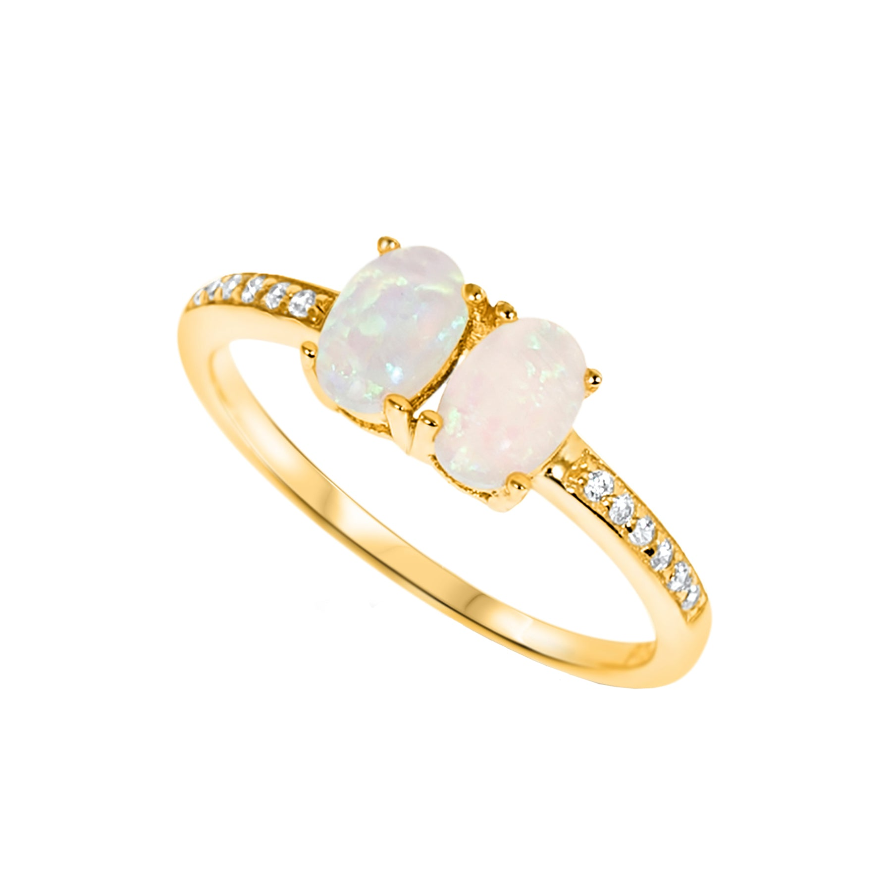 Gold Created White Opal Ring