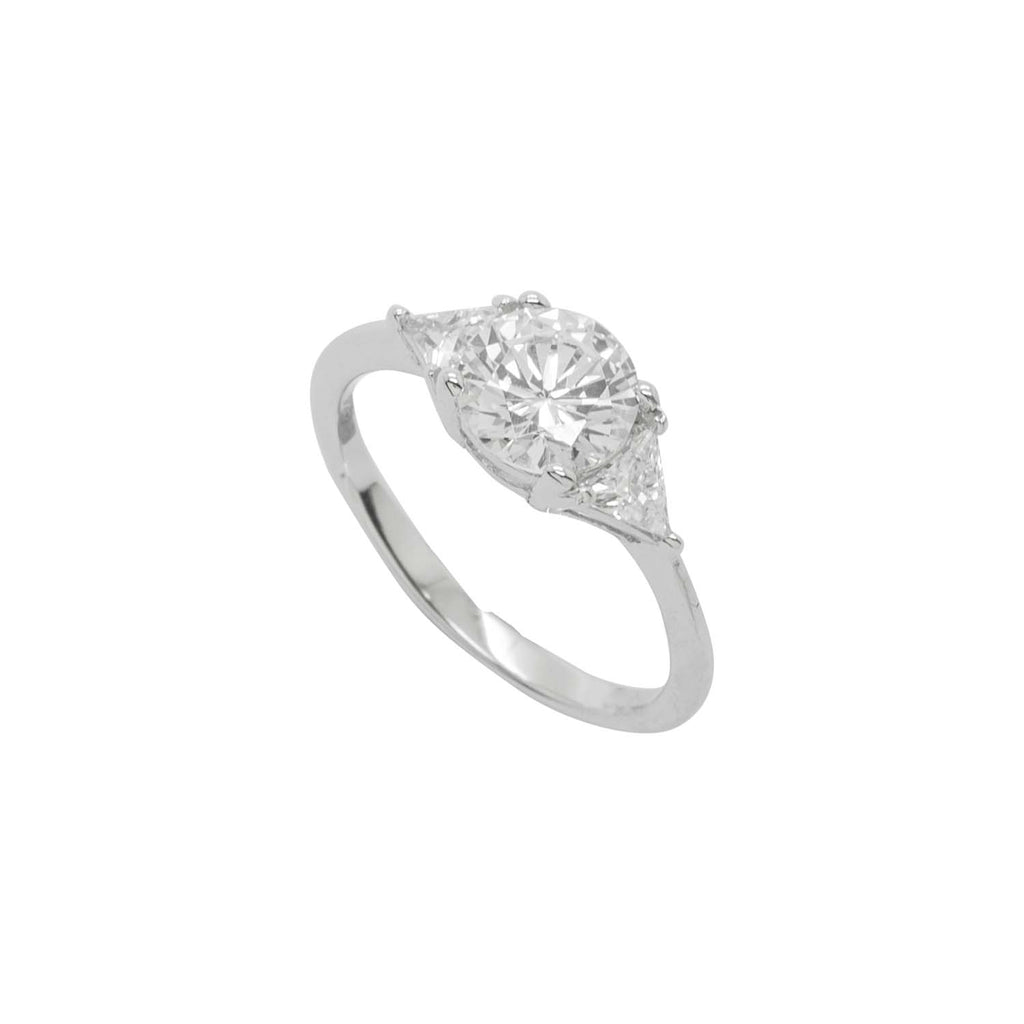 Silver CZ ring with triangle Shoulders
