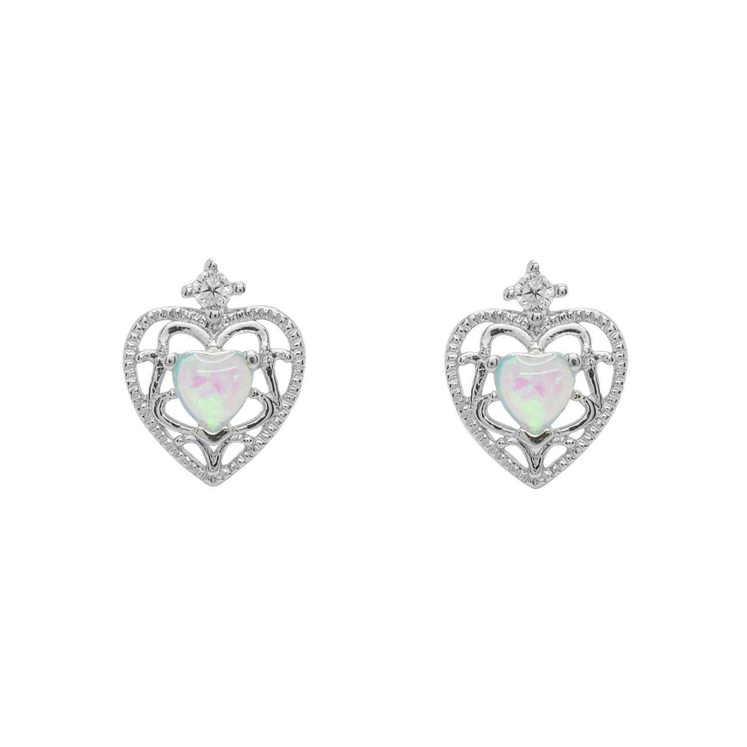 Ornate opal heart earrings
