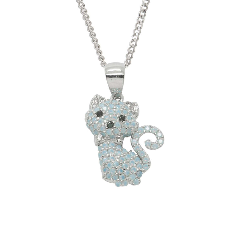 Feline Blue Stone Cat Sterling Silver Necklace