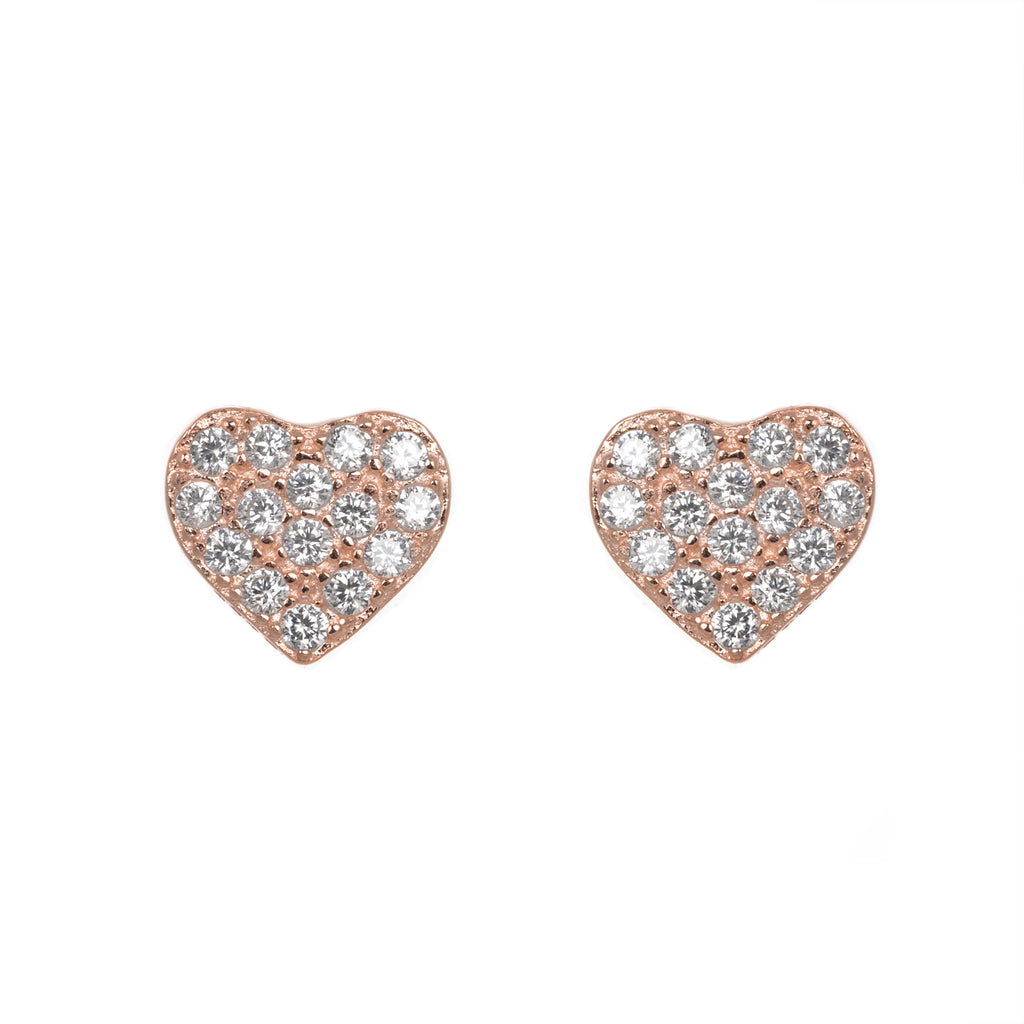 Glitzy rose heart earrings