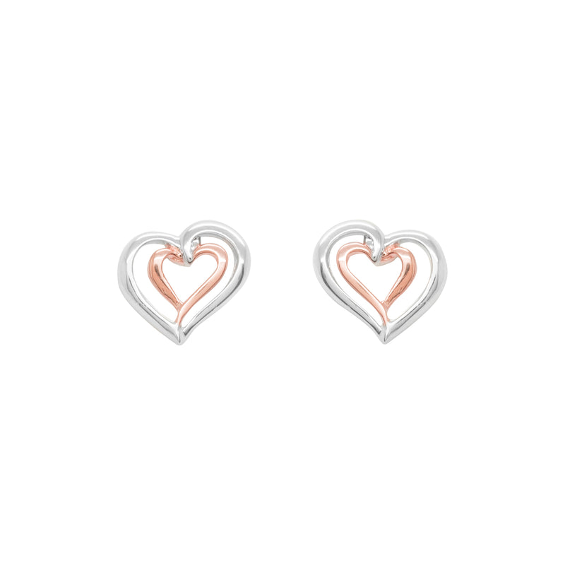 Two tone double heart earrings
