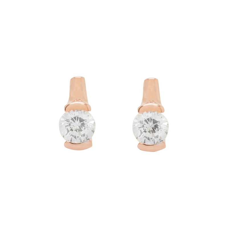Rose Gold Circular Stalk Stud Earrings