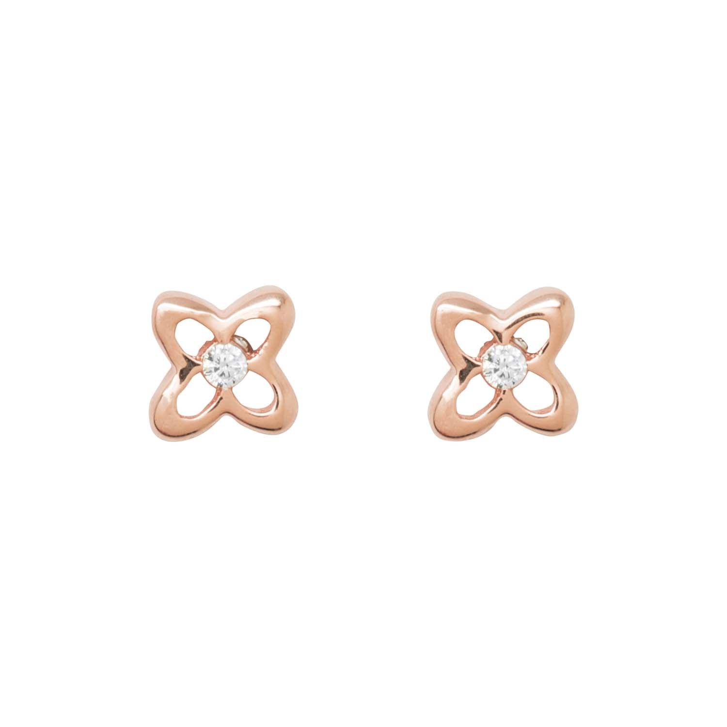 Flower Shaped Rose Gold Stud Earrings