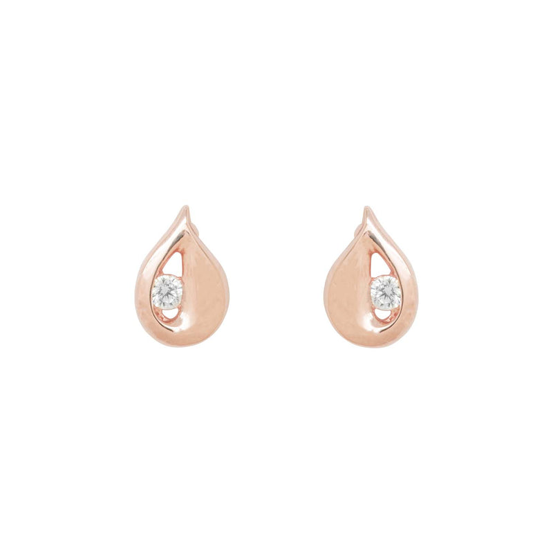 Teardrop Shaped Rose Gold Stud Earrings
