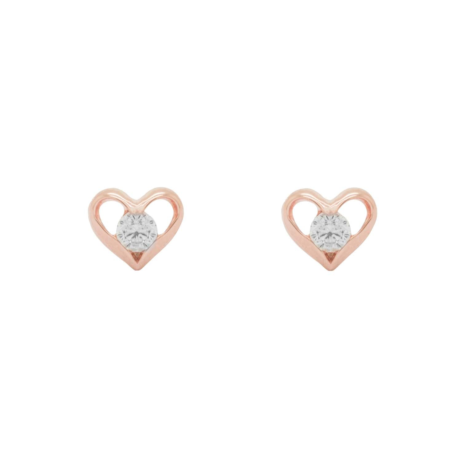 Heart Shaped Rose Gold Stud Earrings