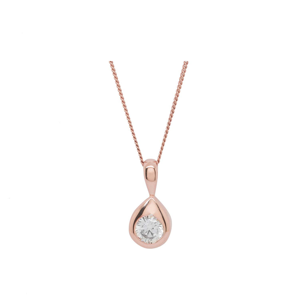 Teardrop Sterling Silver Rose Gold Necklace