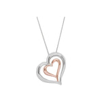 Two tone double heart pendant