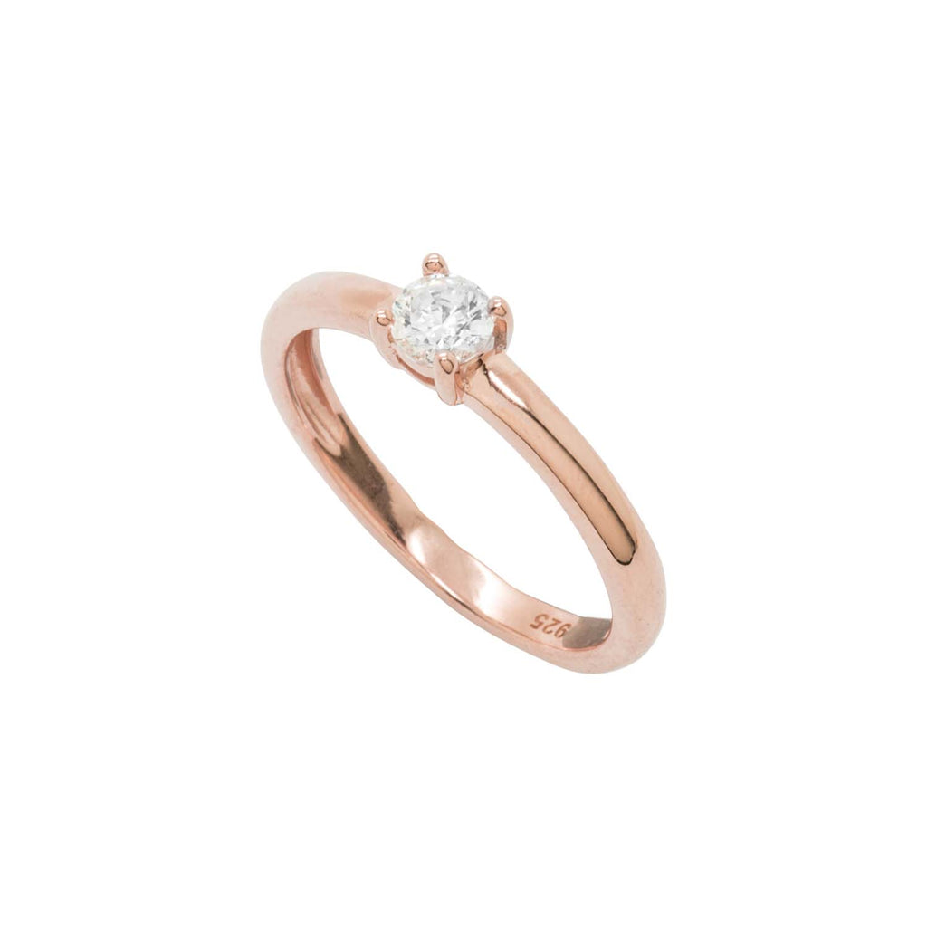 Simple Pink Rhodium ring, Featuring CZ