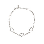 Triple heart bar link bracelet