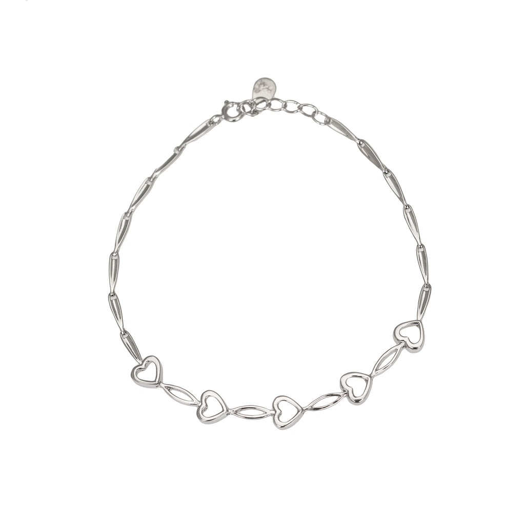 Marquise and hearts link bracelet